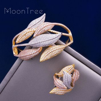 Unique SunFlower 3 Tone Full AAA Cubic Zirconia Wide Bangle Ring  jewelry Sets