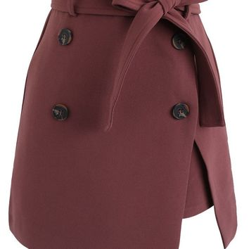 Urban Double-Breasted Flap Skirt in Berry
