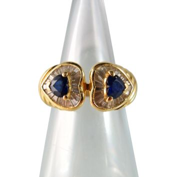 Shimmering beauty in this 18K solid gold ring with natural baguette diamonds and sapphires, Hallmarked