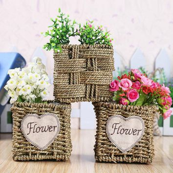 WHISM Home Rattan Storage Basket Wicker Iron Frame Handmade Artificial Flower Holder Willow Container Living Room Table Decor