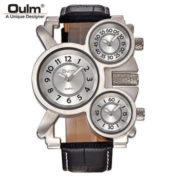 Mens Watches Oulm Top Brand Luxury Military Quartz Watch Unique 3 Small Dials Leather Strap Male Wristwatch Relojes Hombre