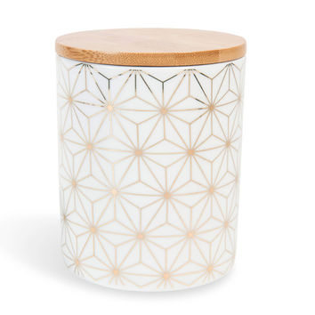 CELESTE porcelain pot, white/gold | Maisons du Monde
