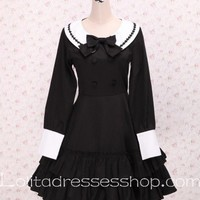 Round Neck Black Bow Pleated Hem Long Sleeve School Sailor Lolita Dress