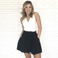 Take Our Time High Waist Shorts In Black