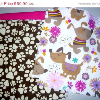 "Dog Flannel rag quilt kit Puppy paw prints pawprints fringed die cut fabric squares and batting complete and ready to sew 45.5""x58.5"
