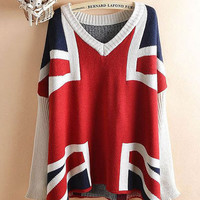 Flag Print V-neck Knitted Sweater