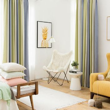 Drapes with Green White and Gray Strips