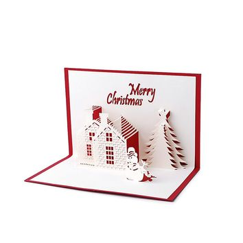 Handmade 3D Pop Up Holiday Greeting Cards Christmas Cottage Castle Thanksgiving