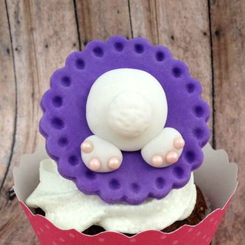 Little Easter Bunny Bottom! Set of 12 (one dozen) Fondant Cupcake, Cake, Cookie Toppers.Li