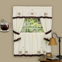 Cuppa Joe 5-pc. Swagger Tier Cottage Kitchen Curtain Set - 36''L Tiers (Brown)