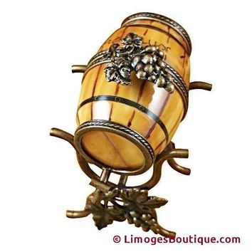 WINE BARREL ON STAND LIMOGES BOXES