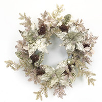 Sub Zero Collection Metallic Poinsettia Wreath