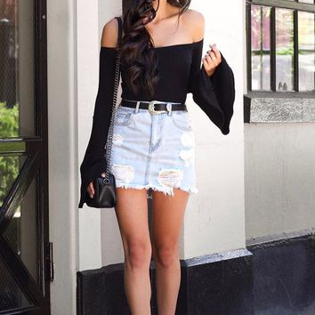 Frayed Hem Denim Mini Skirt