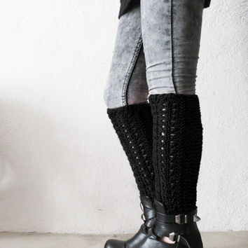 Winter discount sales  Black Cable Knit Leg Warmers Women, Black Boot Socks, Knee High socks, Black Boot Cuffs, Winter Accessory, Legwear