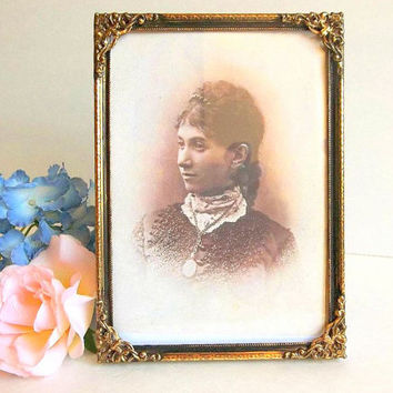 Vintage Ornate gold tone picture frame 5x7 floral detail photo frame beaded edge 1960s old picture frame easel foot Victorian Shabby Cottage