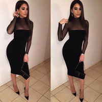 Sexy Long-Sleeved Perspective Bodycon Knee-length Dress