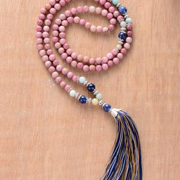 Mala Necklace Unique Rhadonite Stone with Colorful Tassel 108 Beads Necklace Bohemia String Knotted Women Yoga Necklace