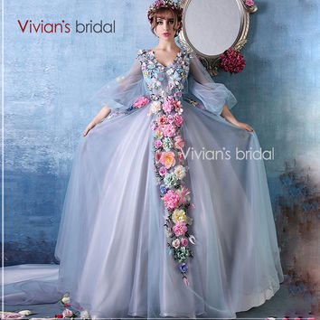 Vivian's Bridal 2016 New Style Fairy Tale Luxury Flowers V-Neck Sexy Wedding Dress White Wedding Gown With Long Sleeves  XX12