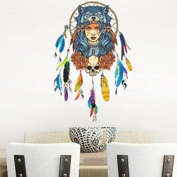 ONETOW Indian Wolf Headdress Full Color Girl Wall Stickers Wall Decorative Creative Removable Wall Stickers