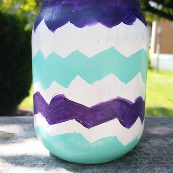 Chevron Print Mason Jar, Painted Mason Jar, Glass Make Up Brush Holder, Indoor Decor, Outdoor Decor, Mason Jar Decor, Bold Home Decor,
