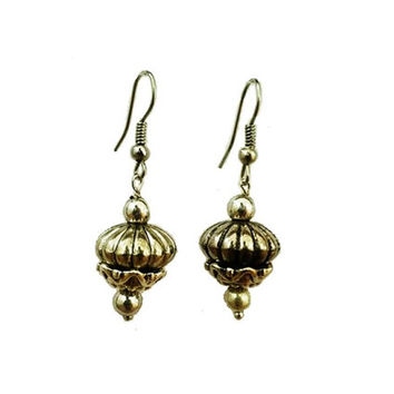 Pewter Bead and Silver Plated Bead Cap Earrings - One of a kind design