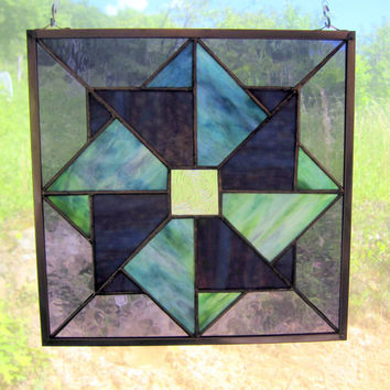 Handmade Stained Glass Double Pinwheel Quilt Square Nine Inch  Window Hanging w Handmade Glass, Shades of Purple and Green, Copper Frame