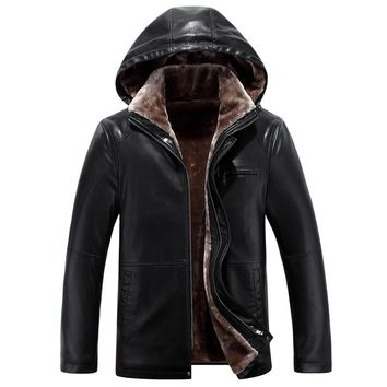 Winter Long Casual Hooded Warm Leather Coat Men