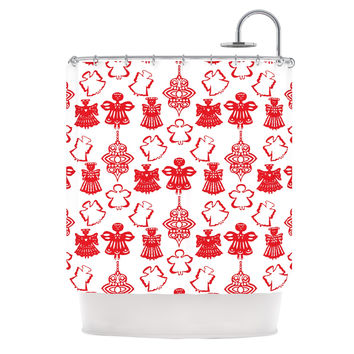 "Miranda Mol ""Angels Singing White"" Red Holiday Shower Curtain"