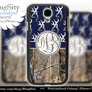 Monogram Galaxy S4 case S5 Browning Navy Real Tree Camo Deer Personalized RealTree Samsung Galaxy S3 Case Note 2 3 Cover