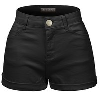 LE3NO Womens Classic High Waisted Cuffed Short Pants with Stretch