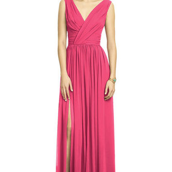 Dessy Collection 2894 Floor Length Tank Chiffon Bridesmaid Dress