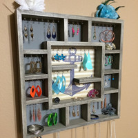 Jewelry Organizer Wood Wall Hanging Display