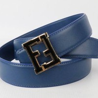 Fendi 100% Leather Blue Women's Belt