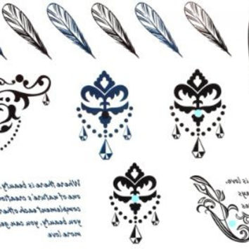 GGSELL GGSELL waterproof non toxic temporary tattoos stickers feather tattoos, crown jewelry tattoos and english words