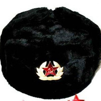 Hat Russian Soviet Army Black KGB * Fur Military Cossack Ushanka * Size XXXL