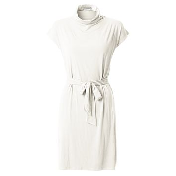 Stretchy Short Sleeve Turtleneck Midi Tunic Dress with Belt