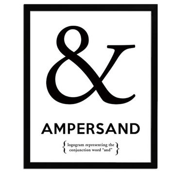 Ampersand - Black and White Art Print - Punctuation Typography Poster - 8 x 10 Wall Decor