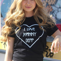 I Love Johnny Depp Black Graphic Unisex Tee
