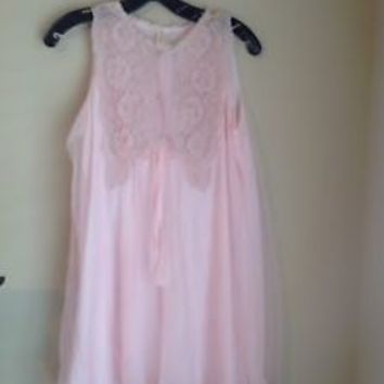 Vintage Aristocraft By Superior Short Ladies Nightgown Pink Lace Sexy!