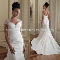 sweetheart mermaid bolero jacket designer wedding dress from China