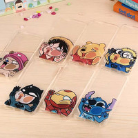 Hot Sale For Apple iphone 6 case 4.7 inch Transparent Cute Cartoon Batman iron man Despicable Me cell phone cases Back covers