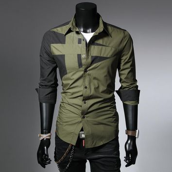 2017 new  long sleeve military style mens shirts patchwork slim fit mens dress shirts size m-3xl