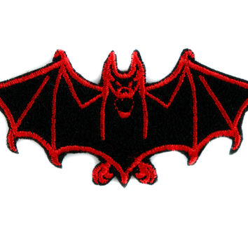 Red Vampire Bat Patch Iron on Applique Alternative Clothing DIY Dracula