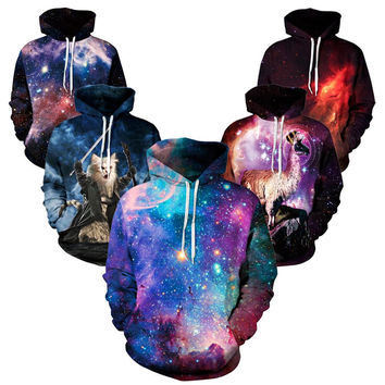 YNM purple galaxy Nebula/thundercat/llama Hoodie all over print hoody sweatshirts men women warm clothing coat hooded outerwear