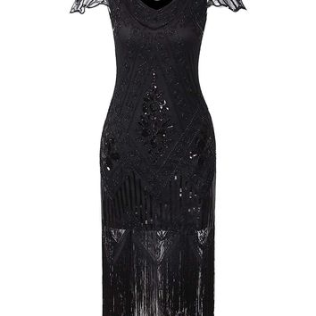 1920s Vintage Gatsby Art Deco Sequin Beaded V Neck Long Cocktail Flapper Dress with Sleeves