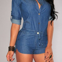 Blue Button Up Drawstring Denim Romper