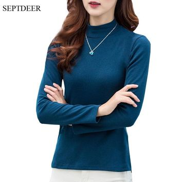SEPTDEER New Fashion Long Sleeve Plus Size Women T Shirt Bottoming Cotton Autumn turtleneck tops for women S-5XL Dropship FY008