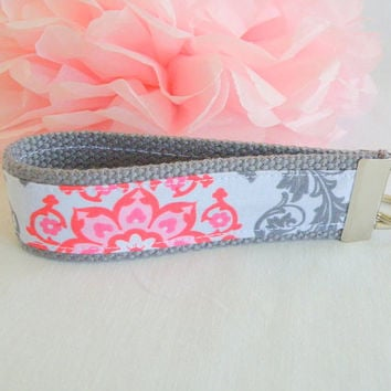 SOLD Ready To Ship Pink White Red Gray Flower Key Fob Wristlet Key Chain Fabric Key Chain