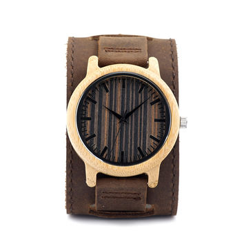 Unique Light Bamboo Wooden Watches Mens Quartz Outdoor Sport Watches Clock With Leather Strap Relojes Hombre 2016
