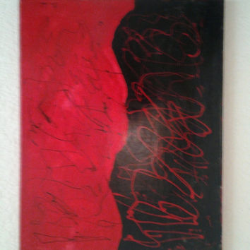 "Large Orginal Abstract Art Oil Painting Handmade on Wrapped Canvas with Wood Framing ""Lady in Red"" 20x28"""